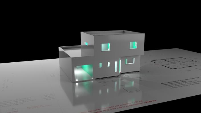 modélisation 3D d'un batiment sur plan ajout des lumières