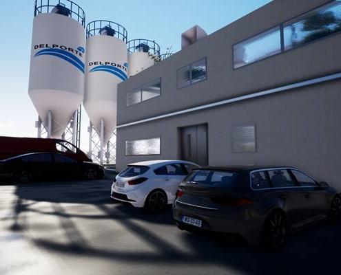 Vue 3d extérieur de l'accueil d'une usine de ciment avec des silos