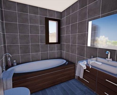 Vue 3d d'une salle de bain avec baignoire