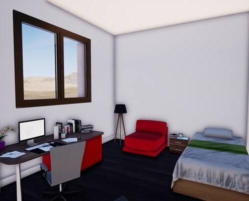 Vue 3d d'une chambre avec un bureau, un lit