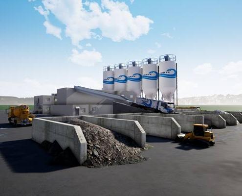 Vue 3d extérieur d'une usine de ciment avec des silos