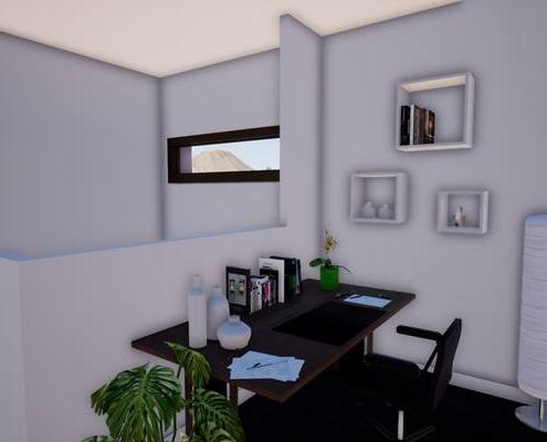 Vue 3d de l'intégration d'un bureau