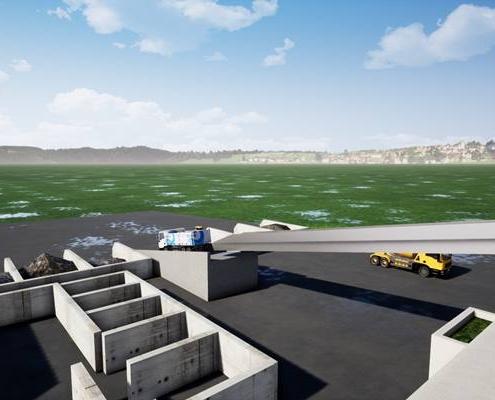 Vue 3d aérienne d'une usine de ciment implanté dans la nature