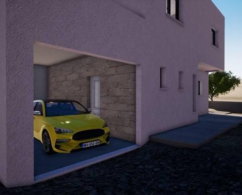 Vue 3d extérieur sur le garage avec une voiture jaune