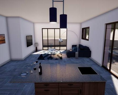 Vue 3d sur l'ilot central d'une cuisine avec en fond le salon TV