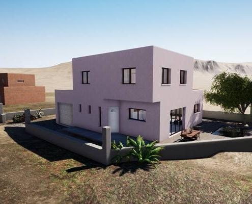 Vue 3d d'une maison en fin de construction