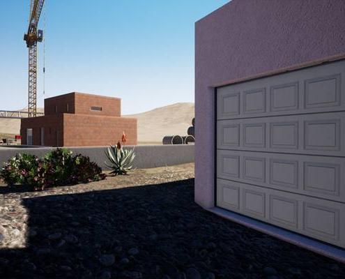 Vue 3d extérieur sur la porte de garage d'une maison