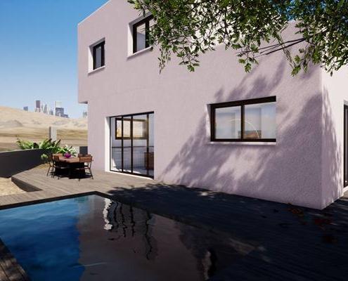 Vu 3d sur la piscine d'une maison avec une terrasse en tek