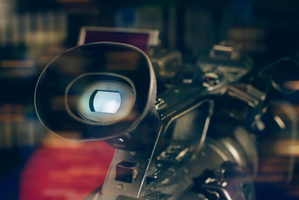 photo de près d'une caméra professionnelle