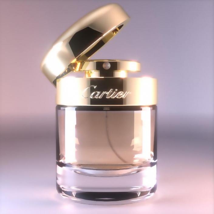 rendu 3d d'un parfum cartier sur un fond neutre