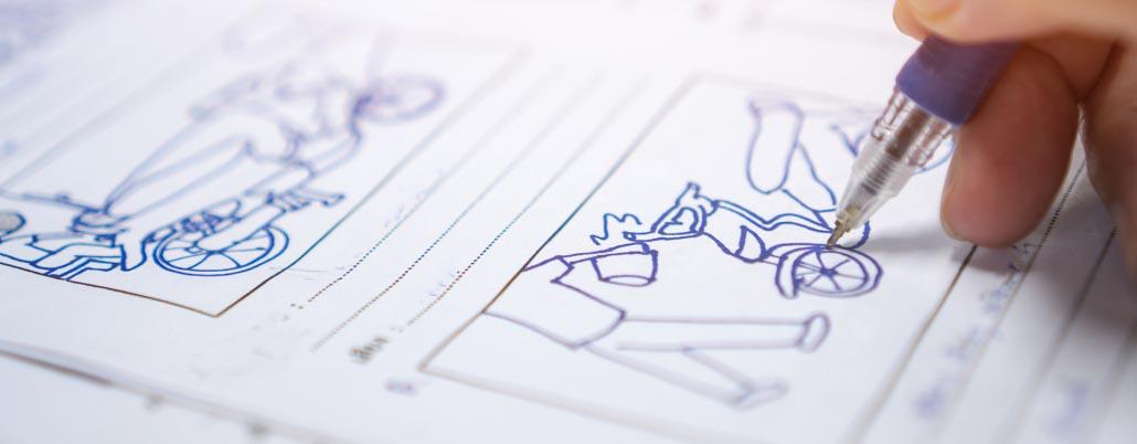 image d'une personne qui dessine un story-board