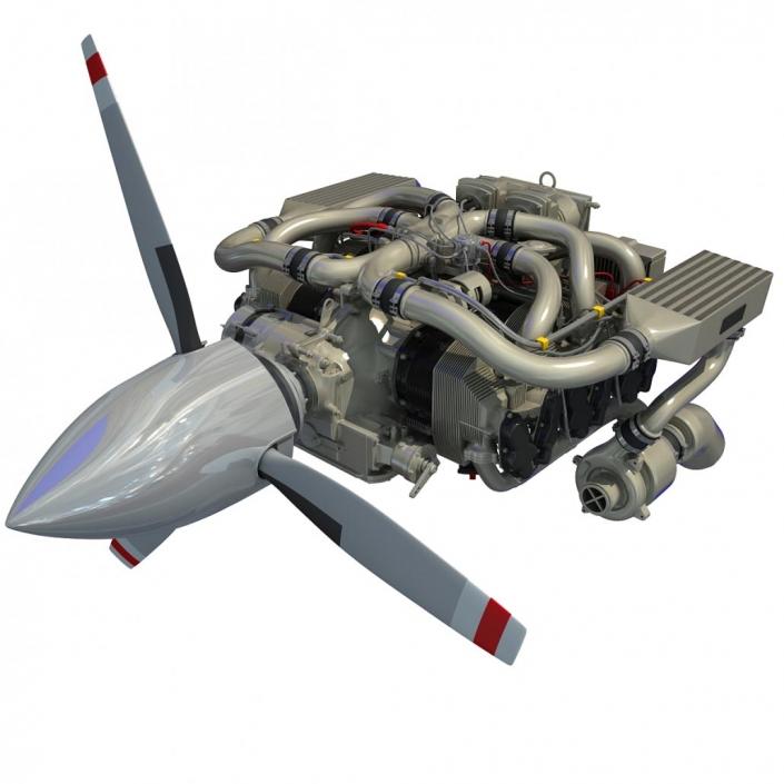 rendu 3d d'un moteur d'avion